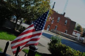 American flag downtown